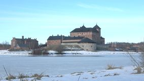 View of the ancient fortress of Hameenlinna, March afternoon. Finland stock video