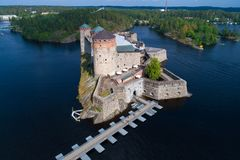 View of the ancient fortress of Olavinlinna shooting from a quadcopter. Savonlinna, Finland stock image