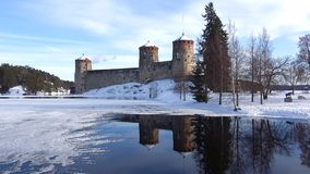 View on the ancient fortress of Savonlinna on march day. Finland. View on the ancient fortress of Savonlinna on march day, Finland stock video