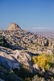Ancient fortress Uchisar in valley of pigeons stock photos