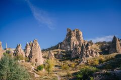 View of ancient fortress of Uchisar royalty free stock photo