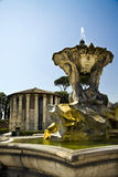 View of ancient fountain and temple Royalty Free Stock Photos