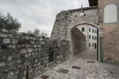 Ancient City Wall in Venzone Stock Photo