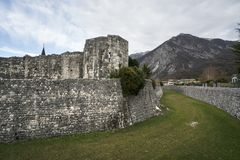 Ancient City Wall in Venzone Stock Images