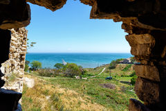 View from the ancient Genoese fortress in the city of Feodosia, Stock Image