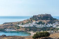 View of an ancient Greek acropolis of Lindos royalty free stock photos