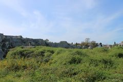 View of the ancient Greek city. What is left of the fortress Stock Photography