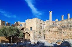 View at ancient Greek remains Lindos acropolis. Rhodes island, Greece. Royalty Free Stock Photos