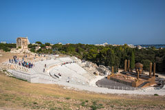 View of ancient greek theater in Syracuse, Italy Royalty Free Stock Image