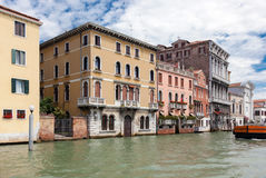 View of the ancient houses from the canal, Venice, Italy Royalty Free Stock Image