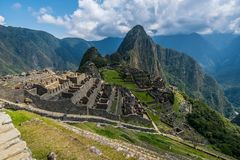 View of ancient Inca city Machu Picchu royalty free stock image
