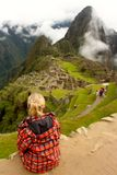 View of ancient incas town of Machu Picchu. View of ancient incas town on a cloudy day at  Machu Picchu Peru Royalty Free Stock Photography