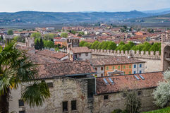 View of the Ancient Italian Walled City of Soave with Crenellated Towers and Walls. Stock Photos
