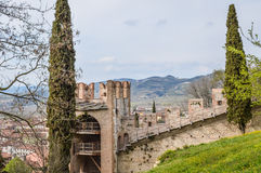 View of the Ancient Italian Walled City of Soave with Crenellated Towers and Walls. Royalty Free Stock Photos