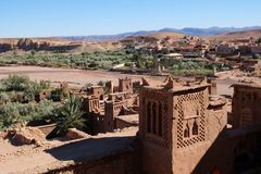 View from ancient Kasbah Ait-Ben-Haddou, Morocoo. Ait Benhaddou, famous ancient berber kasbah, Morocco.Panorama of Ait Benhaddou Casbah near Ouarzazate city in Royalty Free Stock Photos