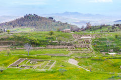 View of ancient Morgantina settlement in Sicily Stock Images