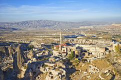 View of ancient Nevsehir cave town and a castle of Uchisar Royalty Free Stock Photography