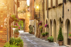 View of the ancient old european street in Pienza. Italy. Royalty Free Stock Photo