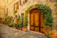 View of the ancient old european street in Pienza. Italy. Royalty Free Stock Photos