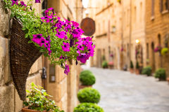 View of the ancient old european street in Pienza. Italy. Royalty Free Stock Photography