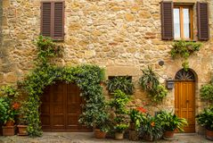 View of the ancient old european street in Pienza. Italy. Royalty Free Stock Images