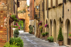 View of the ancient old european street in Pienza. Italy. Stock Photography