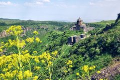 Ancient orthodox church in medieval fortress Amberd in Armenia Royalty Free Stock Images