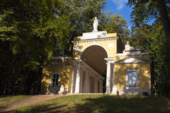 View of ancient pavilion illuminated by the sun in a Moscow Park. Stock Image