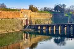 View of ancient Porta Brescia fortress in Peschiera del Garda, province of Verona, Italy. Old architecture and landmark in Peschiera del Garda. Landscape with royalty free stock photos
