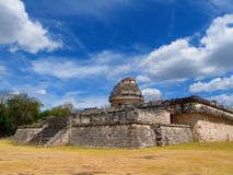 View of the ancient pyramid. And the Maya observatory against the background of clouds Stock Images