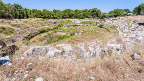 View of ancient roman Amphitheatre in Syracuse Royalty Free Stock Photo