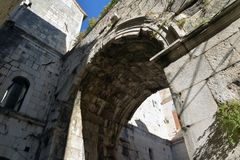 Split, Croatia, Diocletian palace main access gate. View of the ancient Roman Diocletian palace ruins.  Main access gate, city centre of Split, Croatia Stock Images