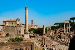 Forum Romanum. View of the ancient Roman ruins at Forum Romanum Stock Photography