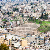 View of ancient Roman theater in Amman city Royalty Free Stock Image