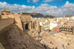 View at the ancient Roman theatre in Cartagena - Spain stock photos
