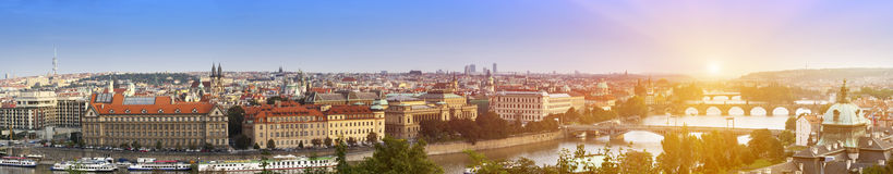 View of ancient roofs and bridges through Vltava. Prague. Czech Republic Stock Photos