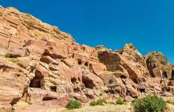 View of ancient ruins at Petra Stock Photos