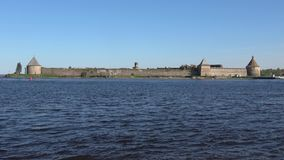 View of the ancient Russian fortress Oreshek. Shlisselburg, Russia stock footage