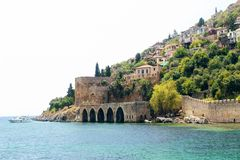 View of the ancient shipyard from the Red Tower Alanya, Turkey Royalty Free Stock Image