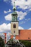 St. Mary's Church (Marienkirche) & Neptune Fountain (Neptunbrunn Royalty Free Stock Photography