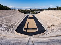 View of the ancient stadium of the first Olympic Games in white marble - Panathenaic Stadium - in the city of Athens, Greece. View of the ancient stadium of the stock photography