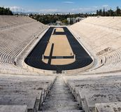 View of the ancient stadium of the first Olympic Games in white marble - Panathenaic Stadium - in the city of Athens, Greece. View of the ancient stadium of the royalty free stock photography