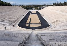 View of the ancient stadium of the first Olympic Games in white marble - Panathenaic Stadium - in the city of Athens, Greece. View of the ancient stadium of the royalty free stock photo