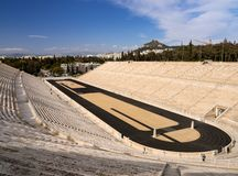 View of the ancient stadium of the first Olympic Games in white marble - Panathenaic Stadium - overlooking the Lycabettus hill. View of the ancient stadium of stock photo