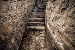 View of ancient stone stairway at castle Royalty Free Stock Photo