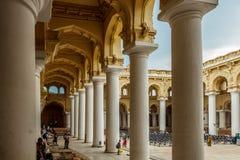 View of an ancient Thirumalai Nayak Palace with people, sculptures and pillars, Madurai, Tamil nadu, India, May 13 2017 Stock Image