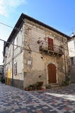 View of the ancient town - Corfinio, L'Aquila, in the region of Abruzzo - Italy. CORFINIO, ITALY - SEPTEMBER 06,2015: View of the ancient town - Corfinio, L' stock photos