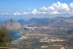 View from the ancient town of Erice, Sicily, Italy Stock Photography