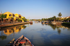 View of the ancient town with the river in Hoian, Vietnam Royalty Free Stock Images