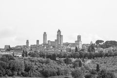 View of the ancient town of San Gimignano. Black and white view of the ancient town of San Gimignano in Tuscany, Italy royalty free stock photo